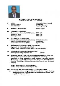 CURRICULUM VITAE. I NAME: ADENIRAN, Ganiyu Adetunji DATE OF BIRTH: 16 July II PRESENT APPOINTMENT: Senior Lecturer