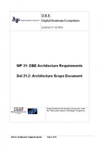 D.B.E. WP 21: DBE Architecture Requirements. Del 21.2: Architecture Scope Document. Digital Business Ecosystem. Contract n