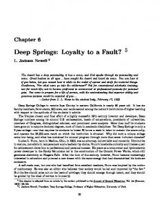 Deep Springs: Loyalty to a Fault? 5