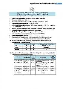 Department of Mathematics, Sambalpur University Evaluative Report for the period to