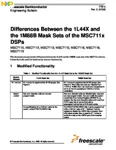 Differences Between the 1L44X and the 1M88B Mask Sets of the MSC711x DSPs