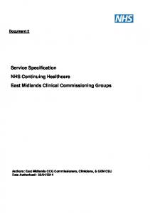 Document 2. Service Specification NHS Continuing Healthcare East Midlands Clinical Commissioning Groups
