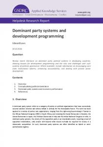 Dominant party systems and development programming