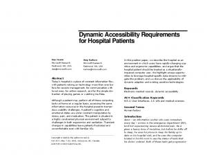 Dynamic Accessibility Requirements for Hospital Patients