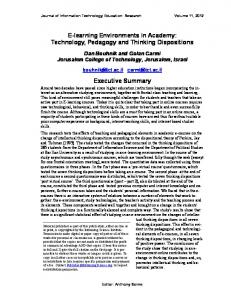 E-learning Environments in Academy: Technology, Pedagogy and Thinking Dispositions. Executive Summary