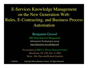 E-Services Knowledge Management on the New Generation Web: Rules, E-Contracting, and Business Process Automation
