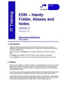 EDM Handy Folder, Aliases and Notes
