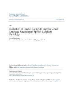 Evaluation of Teacher Ratings to Improve Child Language Screenings in Speech-Language Pathology
