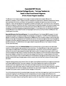 Expanded WFF Grants Technical College Grants - Training Teachers to Teach in Dual Enrollment Programs