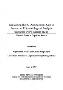 Explaining the IQ-Achievement Gap in France: an Epidemiological Analysis using the DEPP Cohort Study