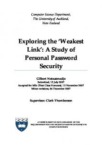 Exploring the Weakest Link : A Study of Personal Password Security