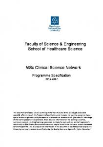 Faculty of Science & Engineering School of Healthcare Science. MSc Clinical Science Network