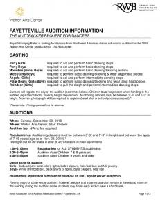 FAYETTEVILLE AUDITION INFORMATION THE NUTCRACKER REQUEST FOR DANCERS