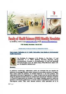 FHS Monthly Newsletter: March 2012 RESEARCH, PUBLICATIONS & PRESENTATIONS