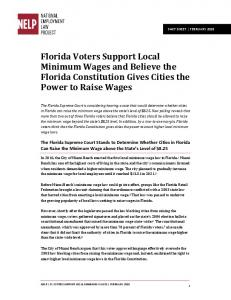 Florida Voters Support Local Minimum Wages and Believe the Florida Constitution Gives Cities the Power to Raise Wages
