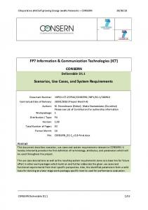 FP7 Information & Communication Technologies (ICT) CONSERN. Scenarios, Use Cases, and System Requirements