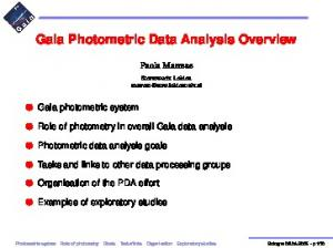 Gaia Photometric Data Analysis Overview