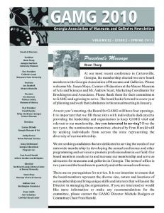 GAMG Georgia Association of Museums and Galleries Newsletter