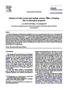 Gelation of whey protein and xanthan mixture: Effect of heating rate on rheological properties