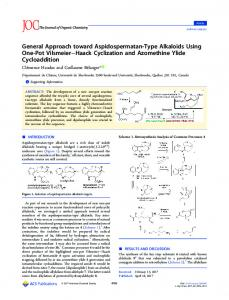 General Approach toward Aspidospermatan-Type Alkaloids Using One-Pot Vilsmeier Haack Cyclization and Azomethine Ylide Cycloaddition