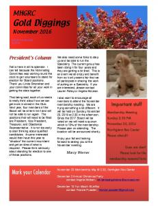 Gold Diggings MHGRC. Mark your Calendar. November Important stuff. President s Column. Marcy Werner