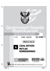 Government Gazette Staatskoerant