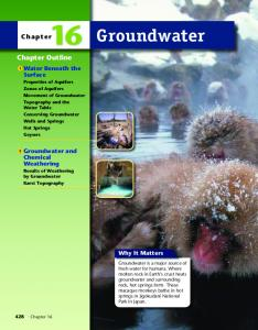 Groundwater. Chapter Outline. Chapter. Surface. Chemical Weathering. Why It Matters. 1 Water Beneath the. 2 Groundwater and