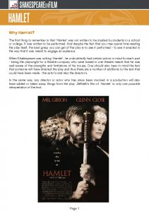 HAMLET. Why Hamlet? Page 1