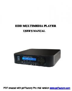 HDD MULTIMEDIA PLAYER USER`S MANUAL