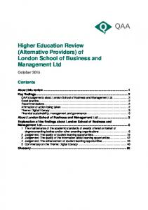 Higher Education Review (Alternative Providers) of London School of Business and Management Ltd