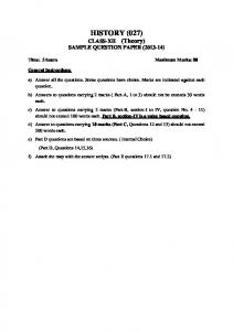 HISTORY (027) CLASS-XII (Theory) SAMPLE QUESTION PAPER ( )