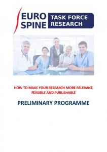 HOW TO MAKE YOUR RESEARCH MORE RELEVANT, FEASIBLE AND PUBLISHABLE PRELIMINARY PROGRAMME
