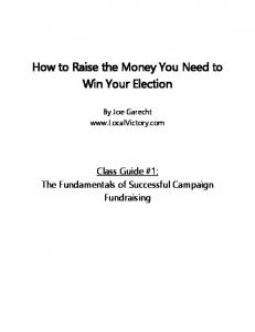 How to Raise the Money You Need to Win Your Election
