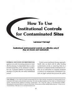 How To Use Institutional Controls for Contaminated Sites