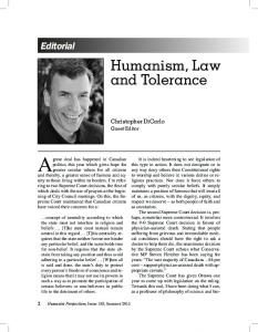 Humanism, Law and Tolerance
