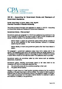 IAS 20 Accounting for Government Grants and Disclosure of Government Assistance