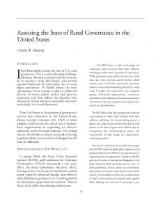Ihave been asked to assess the state of U.S. rural