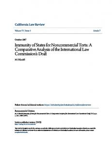 Immunity of States for Noncommercial Torts: A Comparative Analysis of the International Law Commission's Draft