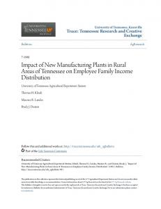 Impact of New Manufacturing Plants in Rural Areas of Tennessee on Employee Family Income Distribution
