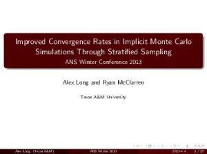 Improved Convergence Rates in Implicit Monte Carlo Simulations Through Stratified Sampling