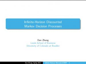 Infinite-Horizon Discounted Markov Decision Processes