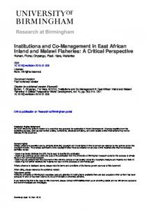 Institutions and Co-Management in East African Inland and Malawi Fisheries: A Critical Perspective Nunan, Fiona; Onyango, Paul; Hara, Mafaniso