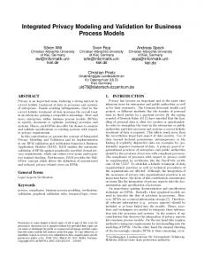Integrated Privacy Modeling and Validation for Business Process Models