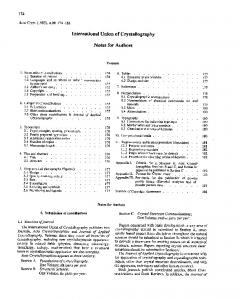 International Union of Crystallography. Notes for Authors
