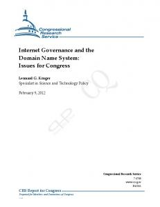 Internet Governance and the Domain Name System: Issues for Congress