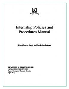 Internship Policies and Procedures Manual. King County Guide for Employing Interns