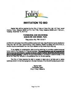 INVITATION TO BID. FURNISHING AND DELIVERING GASOLINE AND DIESEL FUEL Requisition No. PW