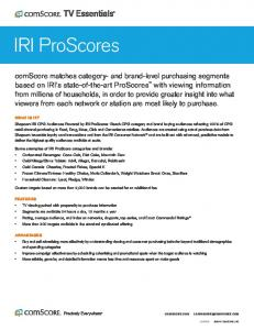 IRI ProScores. Custom targets based on more than 2,000 brands can be created for an additional fee