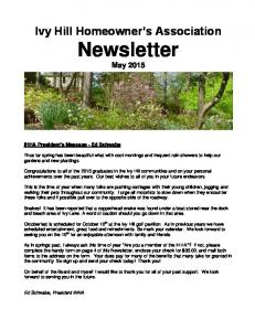 Ivy Hill Homeowner s Association Newsletter May 2015