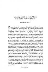 Language Rights in South Africa: Lessons for the United States. Richard Marback